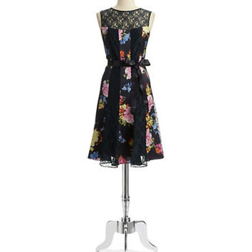Teri Jon Floral Dress with Tie Waist