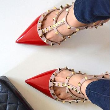 Valentino Stylish Women Sexy Rivet Pointed Sandals Shoes High Heels Red