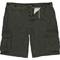 River Island MensGreen patch pocket cargo shorts