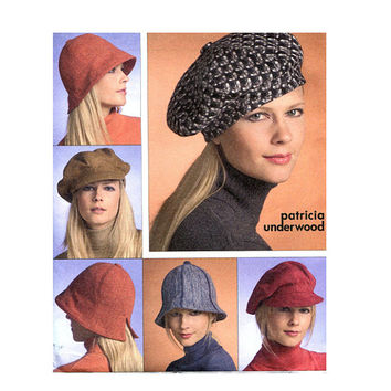 1990s HAT PATTERN News Boy & Cloche Hat Patterns Facinators Vogue 8440 Patricia Underwood Accessories Craft Women's Sewing Patterns UNCuT