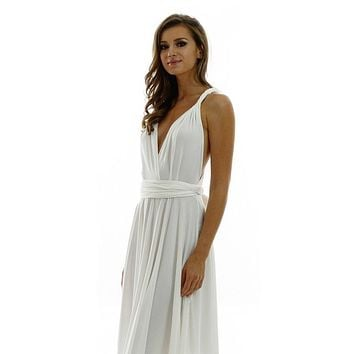 Long Ivory Convertible Jersey Dress 20 Different Looks