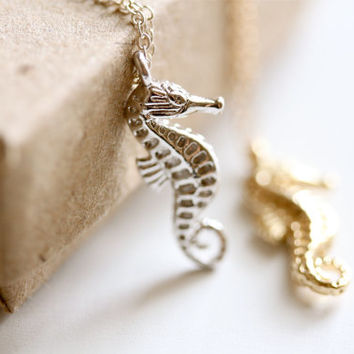 seahorse necklace - gold or silver - unique ocean gift - fancy lemon petite jewellery