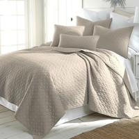 King size Cotton Quilt Set with 2 Shams in Taupe