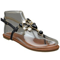 Womens Flat Sandals Marbled Gemstones Accent Casual Dress Shoes black