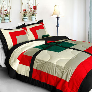 Beauty Demi Quilted Patchwork Down Alternative Comforter Set in Twin Size