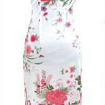White, Black, Blue Floral Silk Long Cheongsam One-piece Chinese Qipao Dress