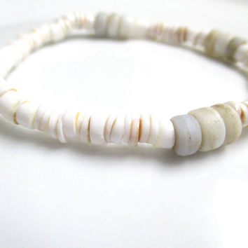 Canarium Shell and Indonesia Trade Bead Stretch Bracelet - Boho Bracelet - Stacking Bracelet