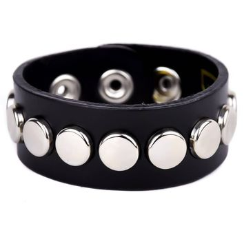 "Silver Round Flat Studded Black Leather Quality Wristband Cuff Bracelet 1"" Wide"