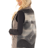 Charcoal Faux Suede Vest with Contrast Back and Tie Detail