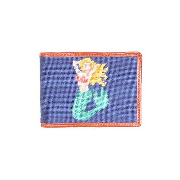 Mermaid Needlepoint Bi-Fold Wallet in Classic Navy by Smathers & Branson