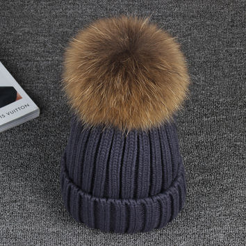 15cm Real Raccoon Fur Pom poms Knitted Ball Beanies Winter Hat For Women Girl 's Cotton Skullies 2016 Brand New Thick Female Cap