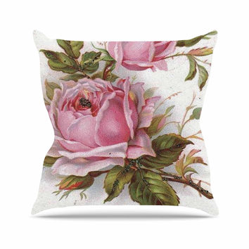 "Suzanne Carter ""Vintage Rose"" Pink Floral Outdoor Throw Pillow"