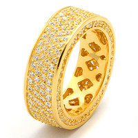 Gold 4 Row CZ Eternity .925 Sterling Silver Ring