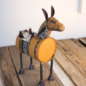 Reclaimed Metal Donkey Planter Or Cooler