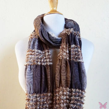 Scarf - ROCKSTYLE MULTI V - Luxury textured long chunky scarf - unisex accessories