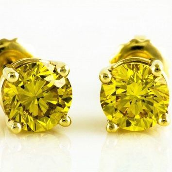 14K Solid Yellow Gold Round Canary Yellow CZ Stud Earrings Basket Setting.