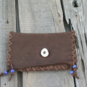 Brown leather clutch , Phone case , Checkbook Cover , Tobacco bag