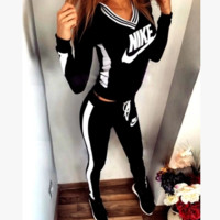 """NIKE"" Fashion Casual Multicolor Letter Print V-Neck Hooded Long Sleeve Set Two-Piece Sportswear"