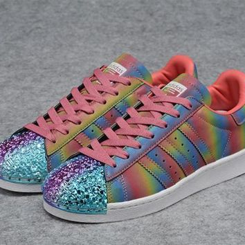 Adidas Originals Colorful Superstar 80S Trainers With Colorful Shiny 3D Metal Toe Cap Women Men Casual Sneakers Sport Shoes I