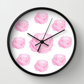 Pastel Pink Roses Wall Clock by Laureenr