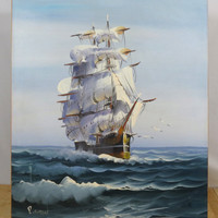 """Clipper Ship at Sea . Original Oil Painting Signed R. Boren . Large 24"""" x 20"""" . Vintage Canvas Painting"""