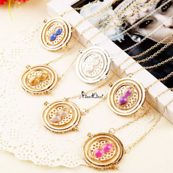 1pc  gold time turner Necklace Pendant