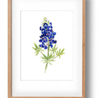 art print Bluebonnet, print of   watercolor,  wild flower art, Texas state flower, blue bloom, botanical watercolor, home decor, mothers day
