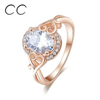 Fashion jewelry rose gold plated engagement party ring for women korean bijoux femme bagues with zirconia diamond jewelry CC157