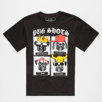 Riot Society Pug Shots Boys T-Shirt Black  In Sizes