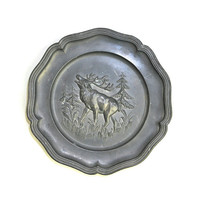 Pewter Woodland Plate by Zierteller, Germany - Wall Hanging Woodsy Scene, Elk Raised Design, Natural Patina - Vintage Home Decor