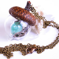 Steampunk Necklace Acorn Necklace Nature Jewelry Glow In The Dark Necklace Large Steampunk Jewelry