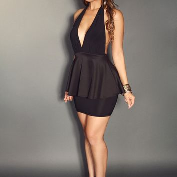 Black Plunging V-Neck Sleeveless With Open Back Halter Peplum Dress