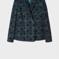 Women's Black Watch Check Double-Breasted Blazer With Spots