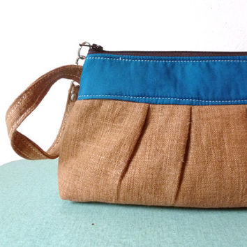 Brown Linen Clutch with Peacock Blue Accents - Wristlet - Handmade