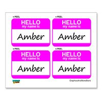 Amber Hello My Name Is - Sheet of 4 Stickers