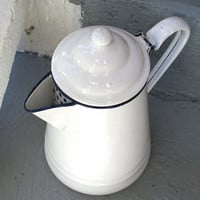 Vintage White Enamelware Coffee Pot with Hinged Lid and Blue Trim