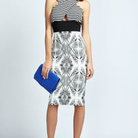 Aubrey Monochrome Print Wrap Top Bodycon Dress