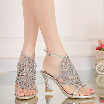 2017 New Rhinestone Sandals Crystal High Heel Shoes Wedding Shoes Black Silver Gold Strappy Heels Sandales Femme 8cm