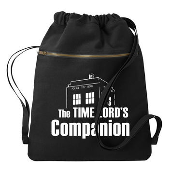 Time Lord Companion Doctor Who Backpack - Black Drawstring Book bag