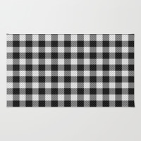 Sleepy Black and White Plaid Rug by RichCaspian