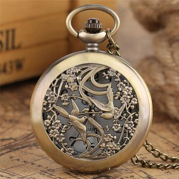 Bronze Magpie With Flower Pocket Watch Unisex Copper  Necklace Watches Vintage Pendant Chain Quartz Clock Women Men Gift