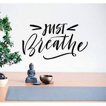 Vinyl Wall Decal Words Just Breathe Letters Yoga Studio Stickers Mural 28.5 in x 16 in gz113