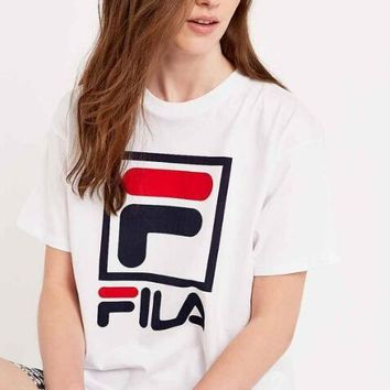 FILA Hot Sale Fashionable Women Men Casual Print Short Sleeve T-Shirt Top