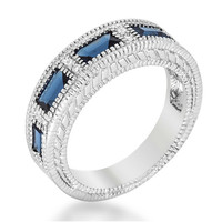 Halle Sapphire Blue Bezel Eternity Band Ring | 3 Carat | Cubic Zirconia