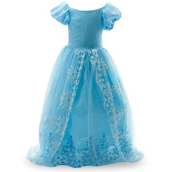 Christmas Girls Cinderella ELSA dress party princess costume fever cosplay elsa dresses, girls Kids dance lace cape dress