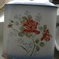 Antique French Enamelware Wall Fountain Shabby Chic Flowers Lavabo