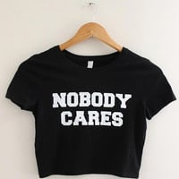 Nobody Cares Black Graphic Crop Top