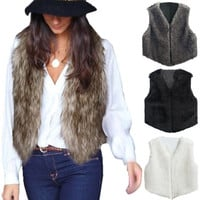 Zanzea Women Faux Fur Vest Jacket Sleeveless Winter Body Warm Coat Waistcoat Gilet = 1932624196