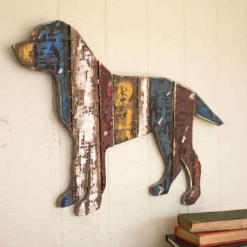 Reclaimed Wood Wall Hanging Dog