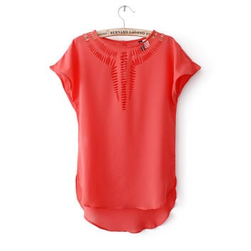 Summer Women's Fashion Hollow Out Bat Short Sleeve Chiffon Tops [6050432705]